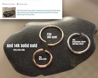 14k Rose Gold Nose Hoop-Nose Ring-Nose Hoop-Gold Nose Ring-Rose Gold Nose Ring-Nose Piercing-14k Rose Gold-Thin Nose Ring-Septum Ring-Tragus