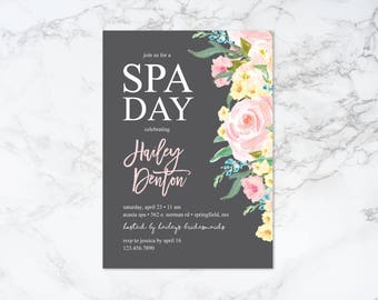Printable Watercolor Floral Spa Day Bridal Shower Invitation