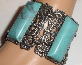 Lovely Wide Silver Tone Faux Turquoise Thermoplastic Thermoset Panel Link Bold Statement Vintage Bracelet