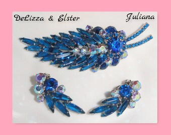Gorgeous Juliana D&E DELIZZA and ELSTER Blue Open Back Aurora Borealis Rhinestone Brooch Clip Earrings High End Vintage Parure Set