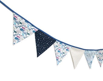 Flags garland fabric Liberty Queue for the zoo blue - ON ORDER