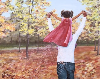Father daughter painting, young girl with red cape riding on her Dad's shoulders, giclee print of original painting by Luann Walsh