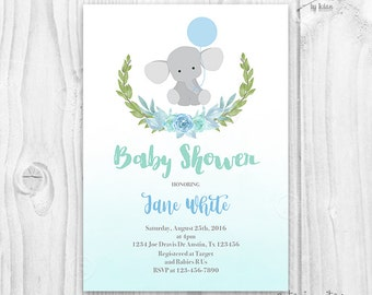 Baby Shower elephant Invitation, blue floral Baby Shower Invitation, Baby Boy Elephant blue and green greenery, cute baby shower invite