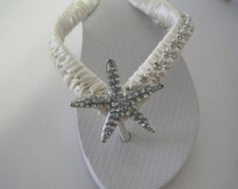 Flip Flops Bridal Wedding Ivory French Knotted with Pearl and Rhinestone Trim and Gorgeous Rhinestone Starfish Accent Destination Wedding