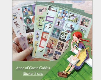 5 Sheet The Anne of Green Gables sticker classic story sticker Fancy Story sticker Fairytale cartoon postcard birthday gift