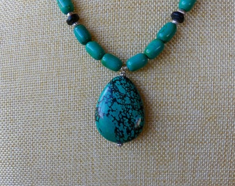 20 Inch Dark Turquoise Beaded Pendant Necklace with Earrings