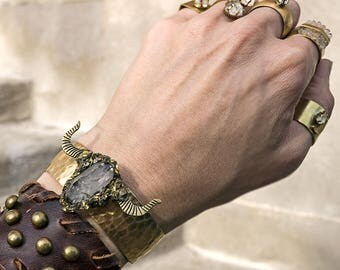 LONGHORN HERKIMER DIAMOND Cuff Bracelet