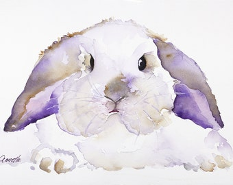 lop ear bunny, rabbit art, rabbit canvas, bunny art, bunny print, bunny watercolor, rabbit poster, for boy, for girl, kitchen art, easter