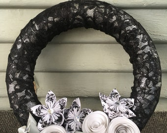 black and white wreath clearance, simple, decor, interior design, origami, wall hanging