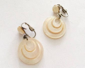 Modernist Earrings, Mother of Pearl 1960s Vintage Jewelry SPRING SALE
