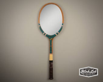 Tennis Racket Mirror FREE-SHIPPING, Wall Hanging, Looking Glass, Racquet, Game, Sports, Home Decor, Vintage, Retro, Upcycled, Repurposed