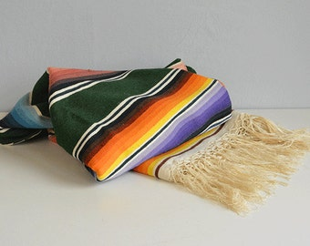 Vintage 1950s Saltillo Blanket / Mexican Southwest Pine Green Multi Rainbow Stripe Wool Serape Blanket with Fringe