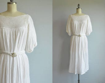 Vintage 1970s Dress / 70s White Gauze Boho Grecian Dress  / Made in Greece