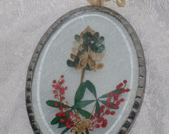 Suncatcher Oval Beveled Glass Dried Flowers Hanging Pewter Vintage