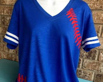 Baseball Laces T-Shirt, baseball mom shirt, Short Sleeve V Neck with stripes on the sleeves, Customize with name and #