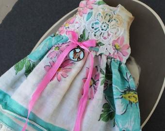 Blythe Doll Hanky Dress Spring Blue Flowers Pink