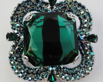 Bodacious Stacked Vintage Brooch Large Green Givre Stone Green Rhinestones Blue Green Aurora Borealis