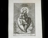 MercurysMoon-Beautiful Original Copper Engraving c 1610 by Jean Messager -Holy Image of Jesus on a Radiant Sacred Heat