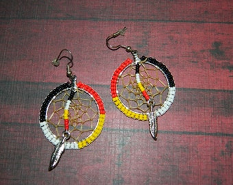 "Native American 1-3/8"" Four Direction Dream Catcher Beaded Hoops"