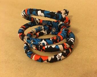 Fabric Bracelets, Fabric and Wood Bangles, Vintage Fabric Bangles, fabric covered wood bangle bracelets