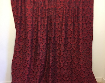 Vintage Curtains, red and black damask curtain, single large curtain panel, vintage curtain fabric