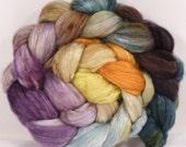 Batt in a Braid #21 -Stone Quarry - (3.8 oz.) Bleached YAK/ mulberry silk/ white bfl (40/50/10)