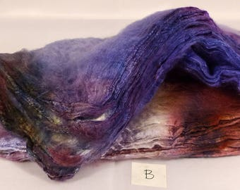 Hand- dyed  silk hankies -  ( 1.3  oz.)