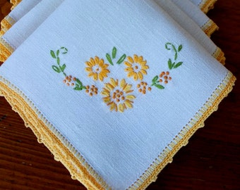 Vintage Linen Napkins Four 4 Embroidered Flowers Gold Yellow Green Autumn Hand Crochet
