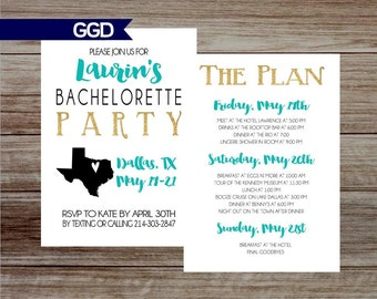 Bachelorette Party Invitation with Schedule Two Sided Invitation with Schedule,  Hen's Party, blue and gold