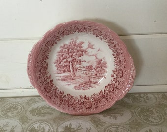 Vintage W.H.Grindley Vegtable Serving Bowl,Vegtable Dish,Country Style,Red Transferware,England