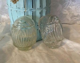 Vintage Glass Bird Cage Feeder, Glass Bird Feeder,Set of Two Glass Bird Feeders