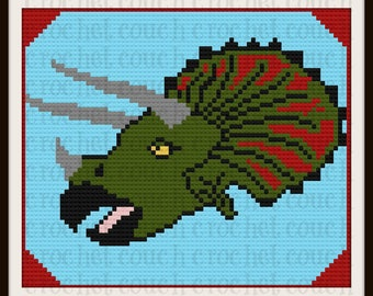 C2C Graph, Triceratops Afghan C2C Graph with Written Word Chart
