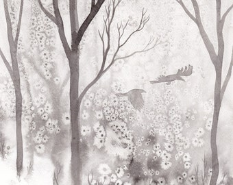 """Original art: """"Crows & Trees"""". Painted ink on paper, black and white, crows, trees, woodland, magical, mystical."""