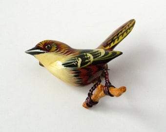 Takahashi Bird Brooch Pin Wood Carved Hand Painted Vintage Wren Bird from TreasuresOfGrace