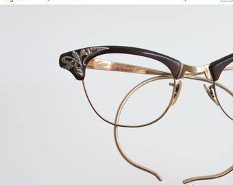 ON SALE Vintage 50's 12K Gold Filled Etched Espresso Cat Eye Eyeglasses