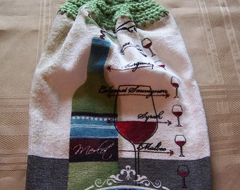 Hanging Dish Towel, Hanging Kitchen Towel, Crochet Top Towel, Housewarming Gift, Home Decor, Apples Hanging Dish Towel