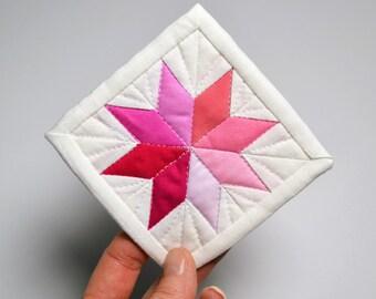 Mini Star Quilt, Pink Quilt, Mini Mini Quilt, Fiber Art, Pink Mini Quilt, Pink Star Quilt