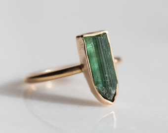 delicate dark teal green tourmaline ring. natural rough gemstone jewelry. october birthstone (14k gold filled or brass)