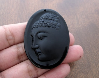 Oval Carved  Buddha  beads , Buddha, DRILLED , Black Obsidian, Jewelry making supplies S7693