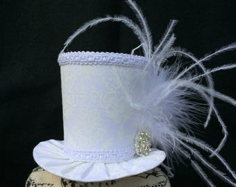 White Damask Mad Hatter Mini Top Hat for Wedding. Dress Up, Birthday, Tea Party or Photo Prop