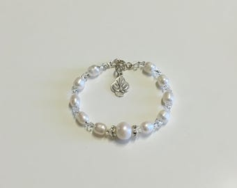Confirmation Genuine White Fresh Water Pearl & .925 SS Clasp - Holy Spirit Charm RB
