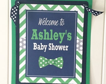 LITTLE MAN BOWTIE Theme Happy Birthday or Baby Shower Door or Welcome Sign - Navy Green - Party Packs Available