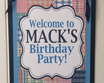 MADRAS PREPPY PLAID Happy Birthday or Baby Shower Door or Welcome Sign - Blue Navy - Party Packs Available