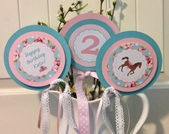 SHABBY CHIC HORSE Birthday or Baby Shower  3 Piece Centerpiece Blue Pink