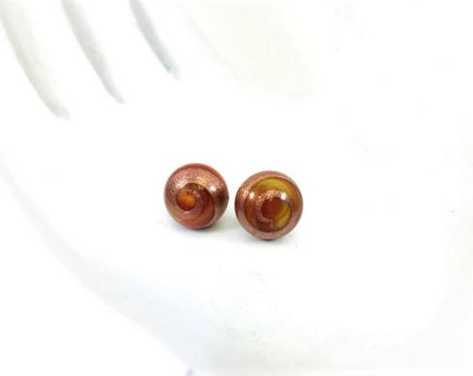 Vintage Japanese Glass Bead Stud Earrings Red Gold Cabochon Hypoallergenic 8mm
