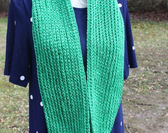 Hand Crocheted Cowl Christmas Green with Flecks - Infinity Scarf    FREE SHIP   double wrap