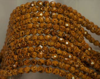 4MM Quail Egg Mosaic Mineral Firepolished Round Faceted Glass Beads 50 Pcs