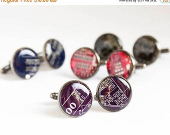 Circuit board Cuff links - round - Geeky computer cufflinks - black, resin