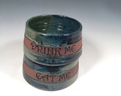 Small Cat  Dog dishes - Pottery pet Bowls - Set of 2- DRink Me and Eat Me - ceramics - pottery - stoneware - pets - feeding