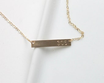 Area Code Bar Necklace /Custom Jewelry/ Personalized Necklace /Gift Idea /Handstamped Bar Necklace/ 14k gold, sterling silver, 14k Rose Gold